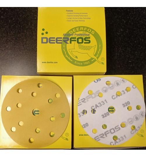 SANDING DISC 150MM X 15H YELLOW GRIT 40 TO 500 (DEERFOS)