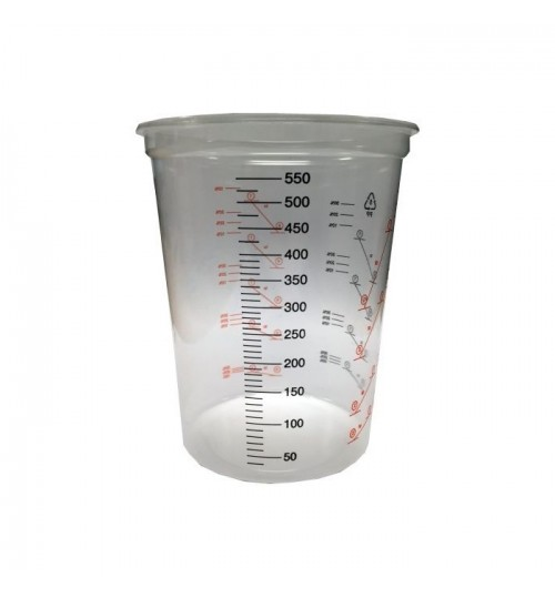 Plastic Polypropylene Paint Mixing Cups 600cc PACK-50
