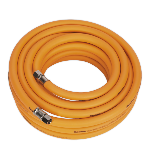 "Sealey AHHC5 Air Hose 5 Metre X 8mm Hybrid High Visibility With 1/4""bsp Unions"